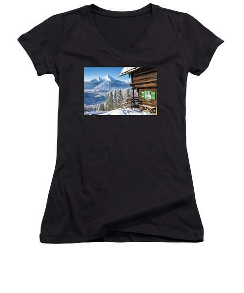 Alpine Winter Wonderland Women's V-Neck T-Shirt