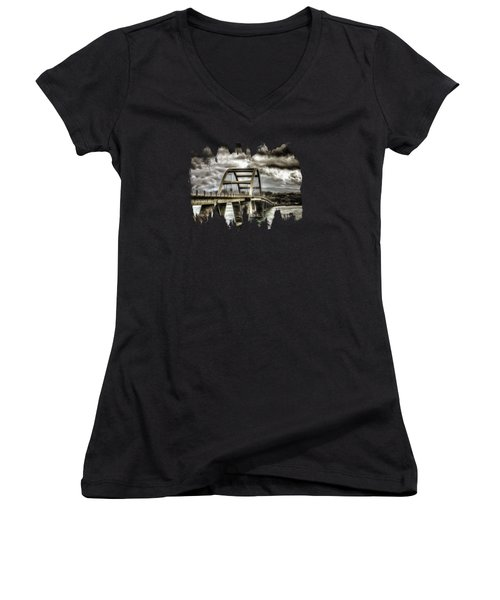 Alsea Bay Bridge Women's V-Neck T-Shirt (Junior Cut) by Thom Zehrfeld