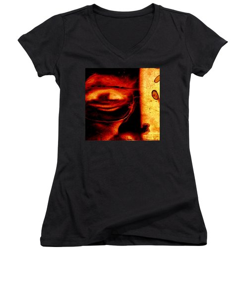 Altered Image In Red Women's V-Neck T-Shirt