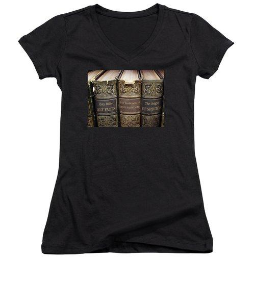 Alternative Facts Vs. Logical Truth... Or 'duh' Women's V-Neck T-Shirt (Junior Cut)