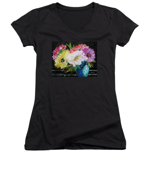 Women's V-Neck T-Shirt (Junior Cut) featuring the painting Always Nice To Come Home To by John Williams