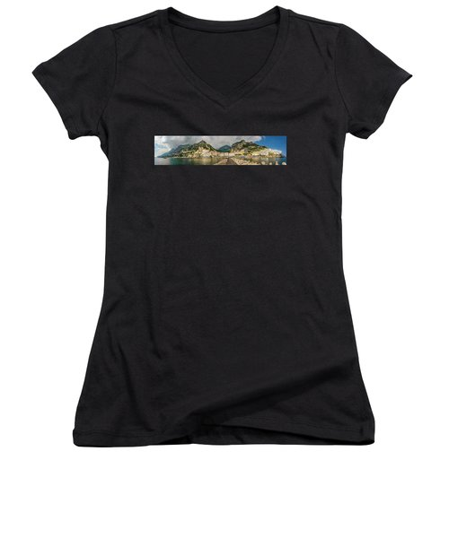 Women's V-Neck T-Shirt featuring the photograph Amalfi by Steven Sparks