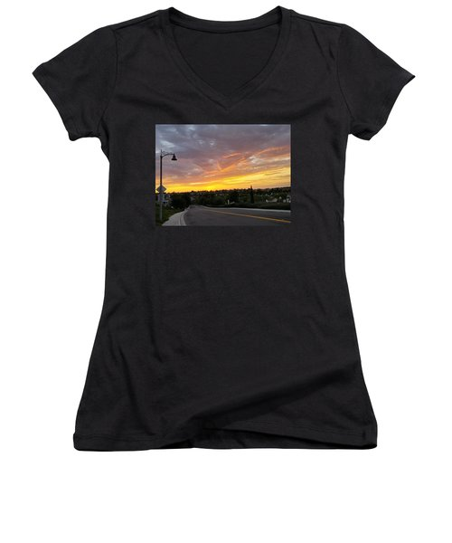 Colorful Sunset In Mission Viejo Women's V-Neck