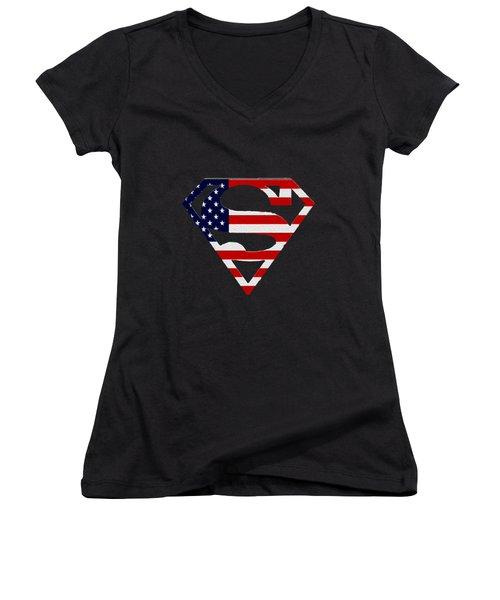 American Flag Superman Shield Women's V-Neck