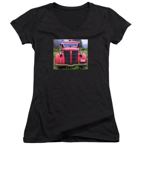 American Foamite Firetruck1 Women's V-Neck T-Shirt (Junior Cut) by Susan Crossman Buscho