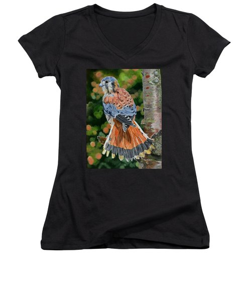 American Kestrel In My Garden Women's V-Neck T-Shirt (Junior Cut) by Phyllis Beiser