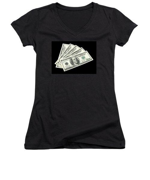 American Money On Black Background Women's V-Neck (Athletic Fit)