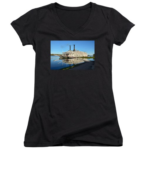 American Queen Steamboat Reflections On The Mississippi River Women's V-Neck T-Shirt (Junior Cut) by David Lawson