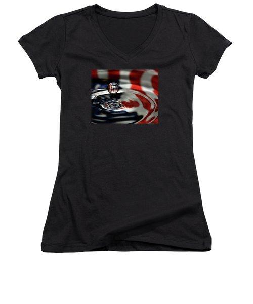 American Water Drop Women's V-Neck T-Shirt (Junior Cut) by Betty Denise