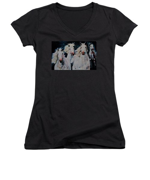 American White Women's V-Neck T-Shirt (Junior Cut) by Khalid Saeed