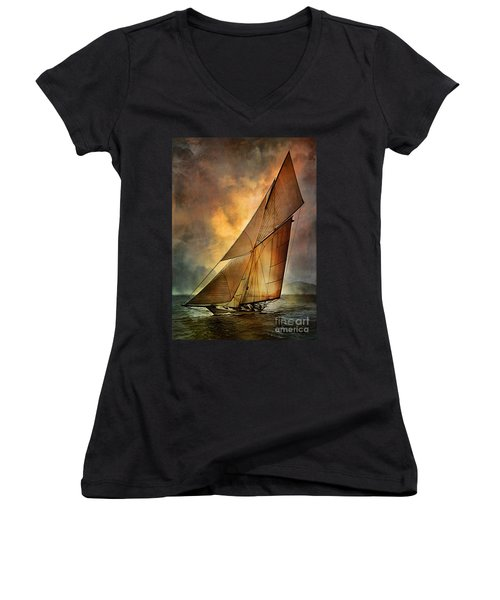 Women's V-Neck T-Shirt (Junior Cut) featuring the digital art America's Cup 1 by Andrzej Szczerski