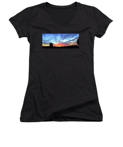 City On A Hill - Americus, Ga Sunset Women's V-Neck T-Shirt