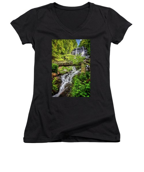Women's V-Neck T-Shirt (Junior Cut) featuring the photograph Amicalola Falls Top To Bottom by Debra and Dave Vanderlaan