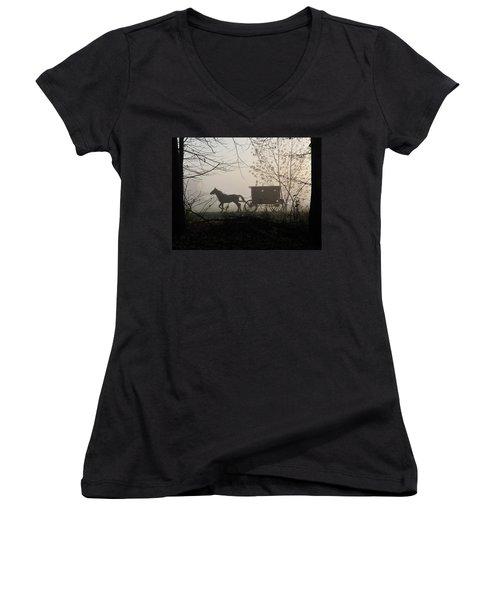 Amish Buggy Foggy Sunday Women's V-Neck T-Shirt