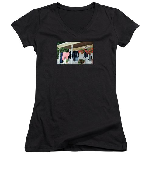 Amish Clothesline Women's V-Neck (Athletic Fit)