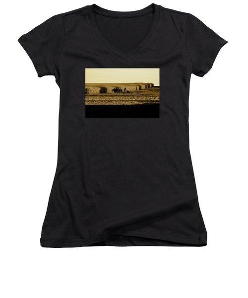 Amish Cornfield In Shadows Women's V-Neck