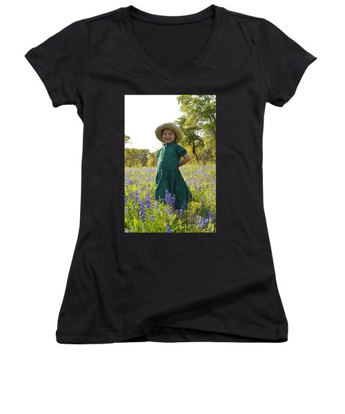 Amish Girl And Blue Bonnets I Women's V-Neck T-Shirt