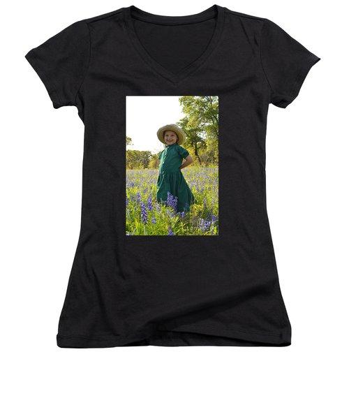 Amish Girl And Blue Bonnets I Women's V-Neck T-Shirt