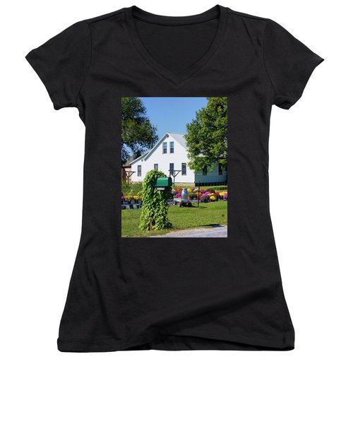 Women's V-Neck T-Shirt (Junior Cut) featuring the photograph Amish House With Mums by Cricket Hackmann