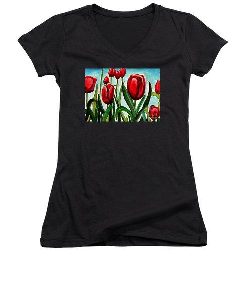 Among The Tulips Women's V-Neck