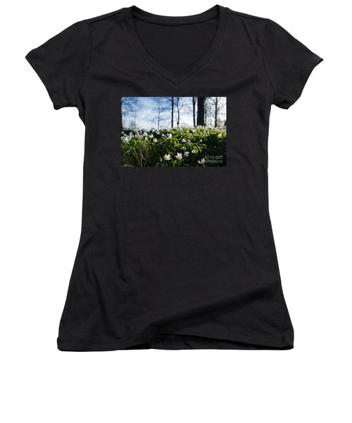 Women's V-Neck T-Shirt (Junior Cut) featuring the photograph Among Windflowers On The Ground by Kennerth and Birgitta Kullman