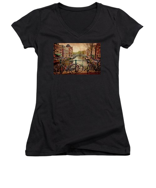 Amsterdam Canal Women's V-Neck (Athletic Fit)