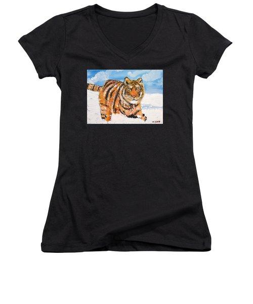 Amur Tiger Women's V-Neck T-Shirt (Junior Cut) by Valerie Ornstein
