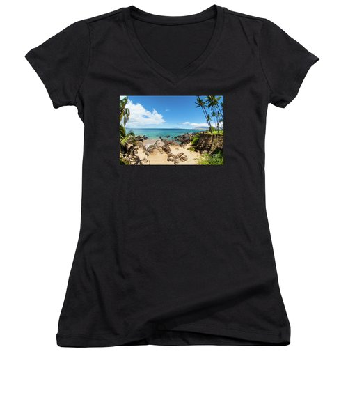 Women's V-Neck T-Shirt (Junior Cut) featuring the photograph Amzing Beach In Hawaii Islands by Micah May