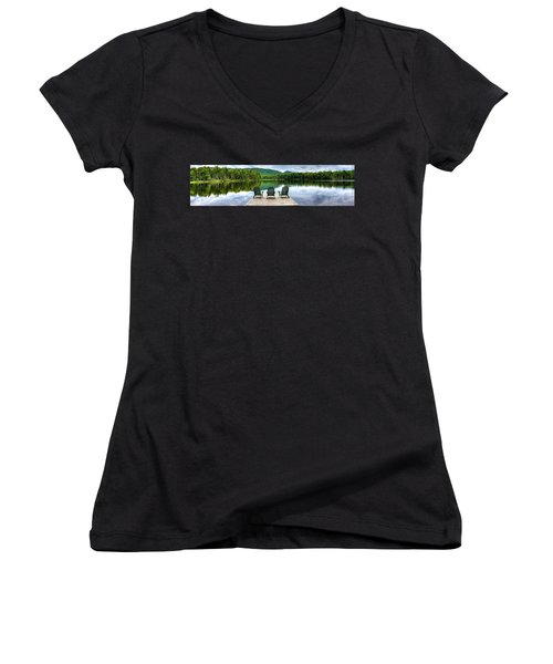 Women's V-Neck T-Shirt (Junior Cut) featuring the photograph An Adirondack Panorama by David Patterson