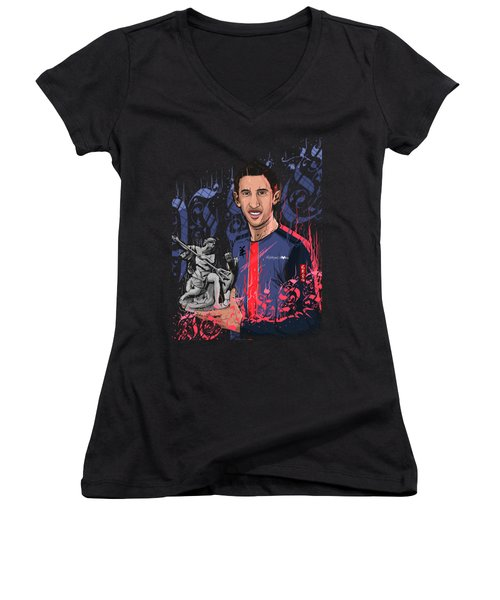 An Angel In Paris Women's V-Neck T-Shirt (Junior Cut) by Akyanyme