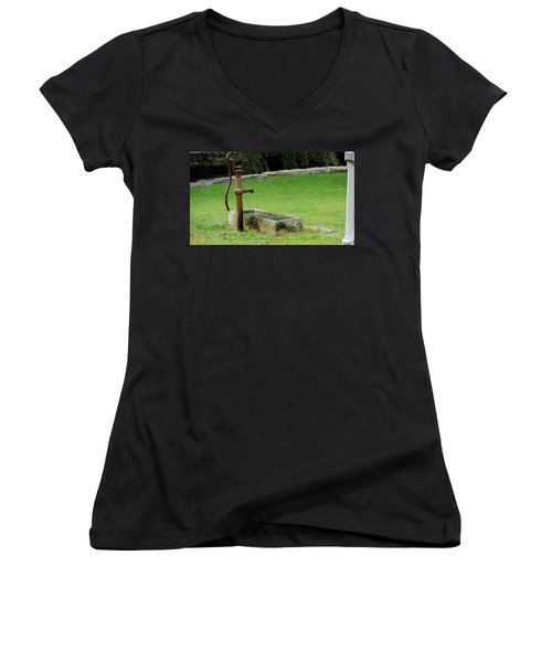 Women's V-Neck T-Shirt (Junior Cut) featuring the painting An Old Hand Pump In Plymouth,mass by Rod Jellison