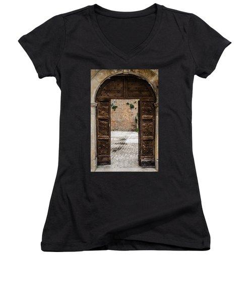 An Old Wooden Door 2 Women's V-Neck