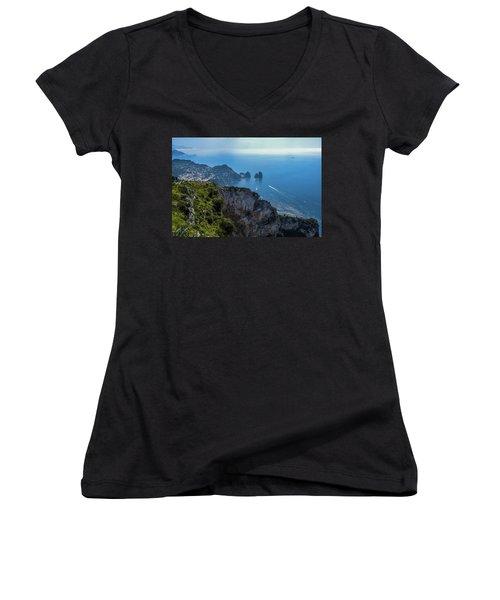 Anacapri On Isle Of Capri Women's V-Neck T-Shirt (Junior Cut) by Marilyn Burton
