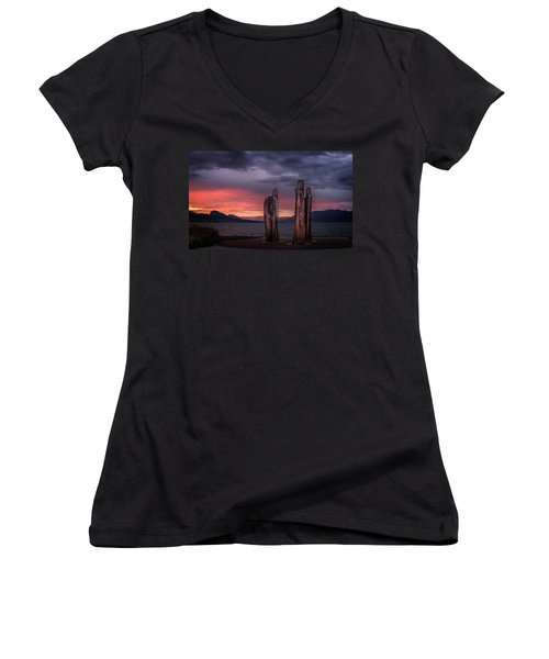 Ancestors Women's V-Neck T-Shirt (Junior Cut) by John Poon