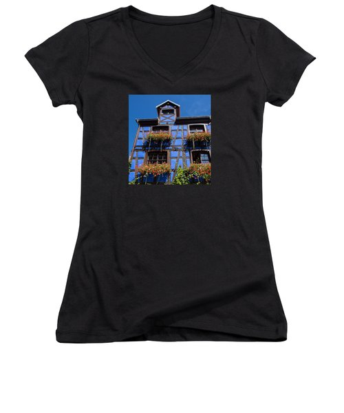 Ancient Alsace Auberge In Blue Women's V-Neck