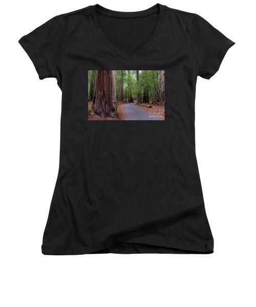 Ancient Redwoods Women's V-Neck (Athletic Fit)
