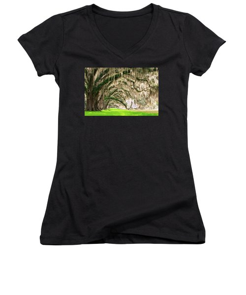 Ancient Southern Oaks Women's V-Neck T-Shirt (Junior Cut) by Serge Skiba