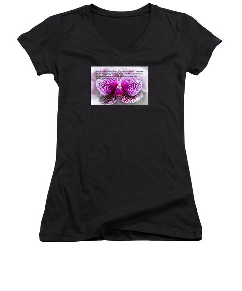 Angel Among Us Women's V-Neck T-Shirt (Junior Cut) by Penny Lisowski