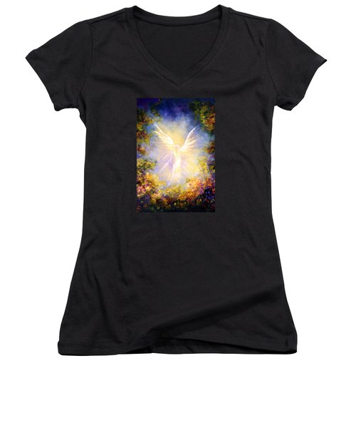 Angel Descending Women's V-Neck T-Shirt (Junior Cut) by Marina Petro