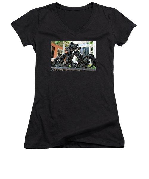 Angel Gate Women's V-Neck T-Shirt (Junior Cut) by Ed Waldrop
