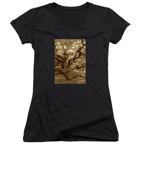 Angel Oak In Sepia Women's V-Neck T-Shirt (Junior Cut) by Suzanne Gaff