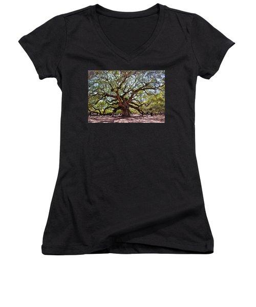 Angel Oak Tree 009 Women's V-Neck T-Shirt (Junior Cut) by George Bostian