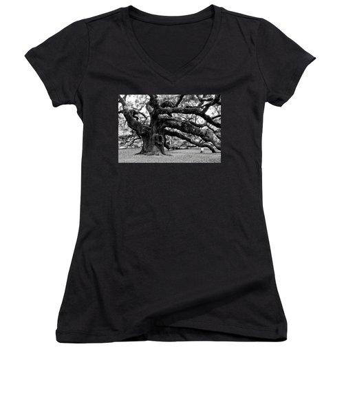 Angel Oak Tree 2009 Black And White Women's V-Neck