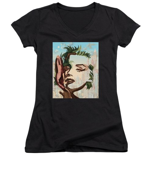 Angel, Watching The Reincarnation Of Marilyn Monroe On The Swinging City Towers Women's V-Neck