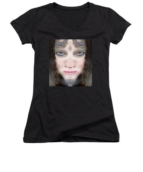 Women's V-Neck T-Shirt (Junior Cut) featuring the photograph Angry Monster #1 by Barbara Tristan