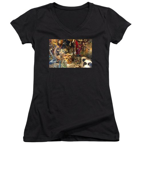 Animal Masks From Venice Women's V-Neck (Athletic Fit)