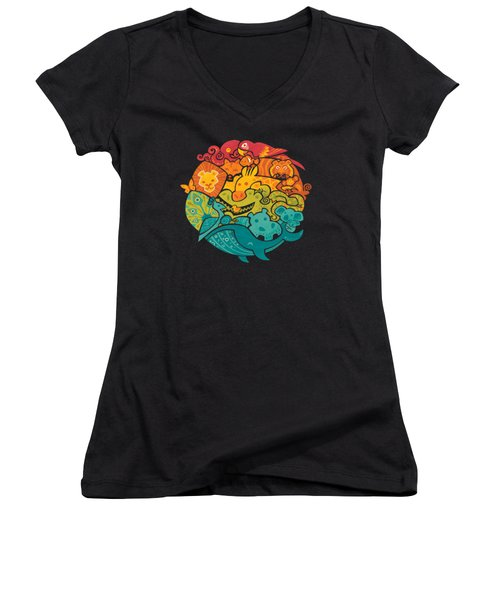 Animals Of The World Women's V-Neck T-Shirt (Junior Cut) by Craig Carr