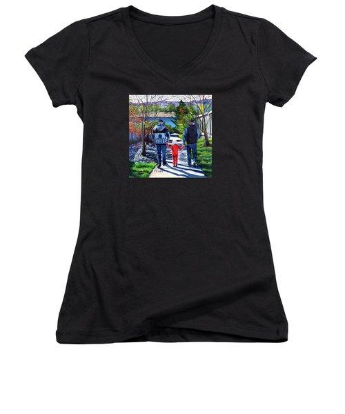 Anna's Grandpa's 2 Women's V-Neck T-Shirt (Junior Cut) by Marilyn McNish