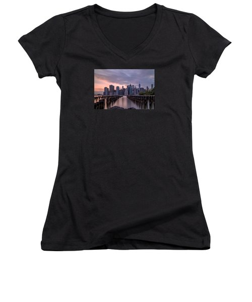 Another Sunset  Women's V-Neck T-Shirt (Junior Cut) by Anthony Fields