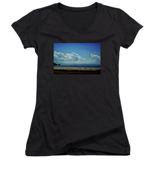 Women's V-Neck T-Shirt (Junior Cut) featuring the photograph Antelope Island, Utah by Cynthia Powell